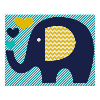 Navy and Teal Elephant Nursery Poster