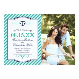 Navy and Teal Nautical Anchor Photo Save the Date Card