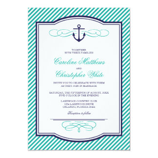 "Navy and Teal Nautical Anchor Wedding Invitation 5"" X 7"" Invitation Card"