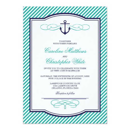 Navy and Teal Nautical Anchor Wedding Invitation