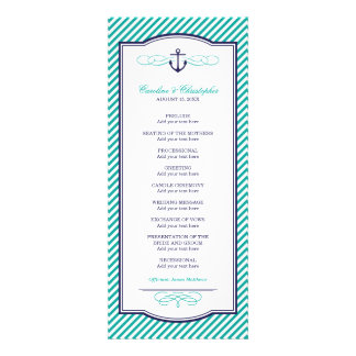 Navy and Teal Nautical Anchor Wedding Program Announcement