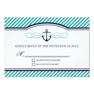 Navy and Teal Nautical Anchor Wedding RSVP Card