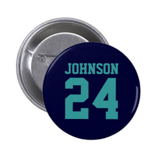 Navy and Teal School Spirit Personalized Team Pinback Button
