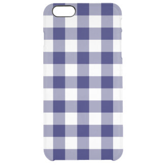 Navy and Transparent Gingham Pattern Clear iPhone 6 Plus Case