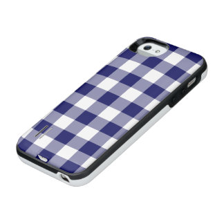 Navy and Transparent Gingham Pattern iPhone SE/5/5s Battery Case