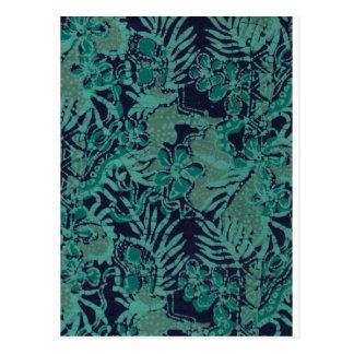Navy and Turquoise Batik Pattern Postcard