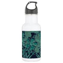 Navy and Turquoise Batik Pattern Water Bottle