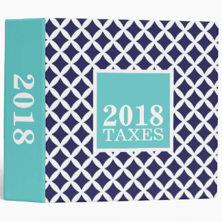 Navy and Turquoise Diamonds Tax File Storage Binder