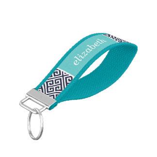 Navy and Turquoise Greek Key Monogram Wrist Keychain