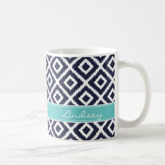 Navy and Turquoise Ikat Diamonds Monogram Classic White Coffee Mug