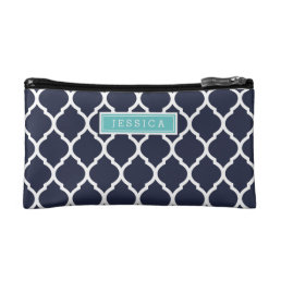 Navy and Turquoise Moroccan Quatrefoil Monogram Makeup Bag