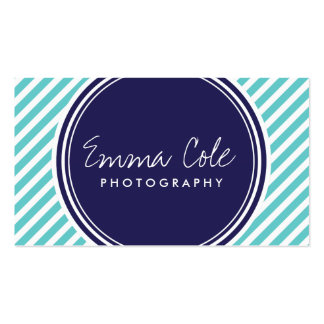 Navy and Turquoise Preppy Stripes Double-Sided Standard Business Cards (Pack Of 100)