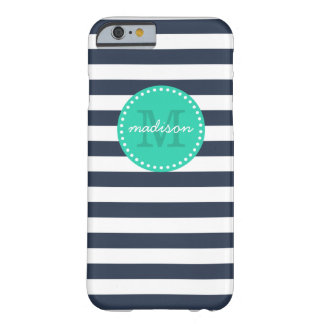 Navy and Turquoise Preppy Stripes Custom Monogram Barely There iPhone 6 Case