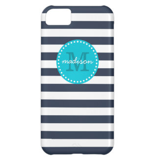Navy and Turquoise Preppy Stripes Custom Monogram Case For iPhone 5C