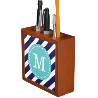 Navy and Turquoise Preppy Stripes Custom Monogram Pencil Holder