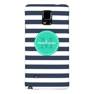Navy and Turquoise Preppy Stripes Custom Monogram Galaxy Note 4 Case