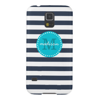 Navy and Turquoise Preppy Stripes Custom Monogram Galaxy S5 Case