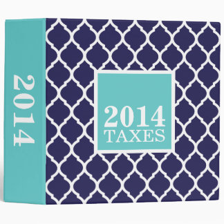 Navy and Turquoise Quatrefoil Cute Tax Binder