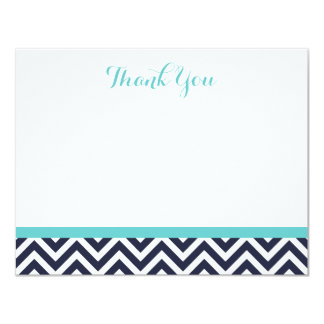 Navy and Turquoise Simple Chevron Thank You Notes Card