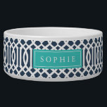 """Navy and Turquoise Trellis Monogram Bowl<br><div class=""""desc"""">Cute customized cat or dog food bowl with a navy imperial trellis pattern and rectangle frame placeholder for your beloved pet's name.</div>"""