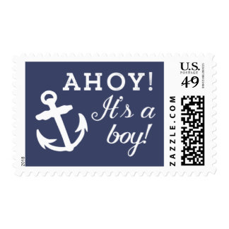 Navy and White Anchor Ahoy It's A Boy Postage Stamp