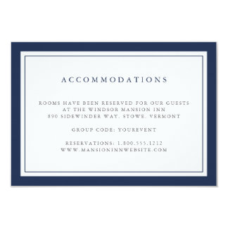 Navy and White Border Hotel Accommodations Card