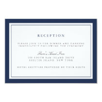 Navy and White Border Wedding Reception Card