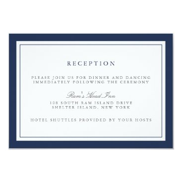 RedwoodAndVine Navy and White Border Wedding Reception Card