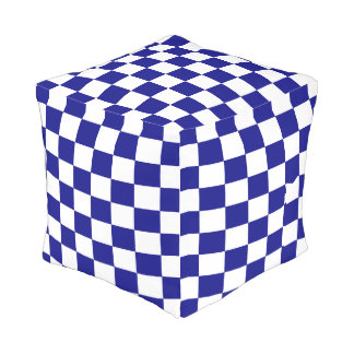 Navy and White Checkered Outdoor Pouf
