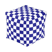 Navy and White Checkered Pouf