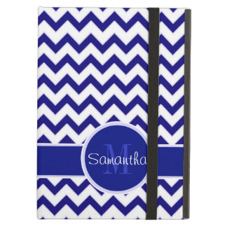 Navy and White Chevron Pattern Custom Monogram Case For iPad Air