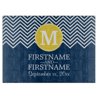 Navy and White Chevron Pattern Custom Monogram Cutting Board