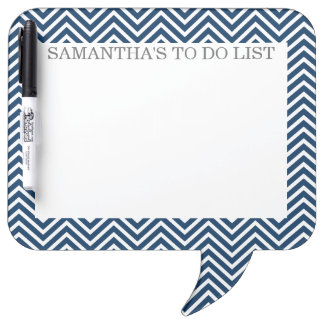 Navy and White Chevrons with Custom Name Dry Erase Board