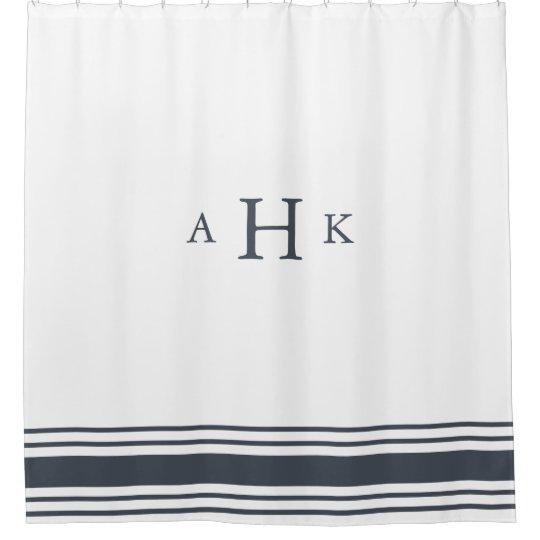 Navy And White Classic Stripe Border Monogram Shower Curtain