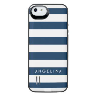 Navy and White Classic Striped Pattern Custom Name iPhone SE/5/5s Battery Case