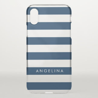 Navy and White Classic Striped Pattern Custom Name iPhone X Case
