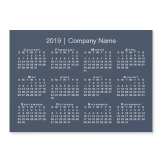 Navy and White Company Name 2019 Calendar