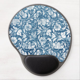 Navy and White Denim Damask Shabby Chic Print Gel Mouse Pad