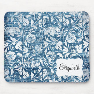 Navy and White Denim Damask Shabby Chic Print Mouse Pad
