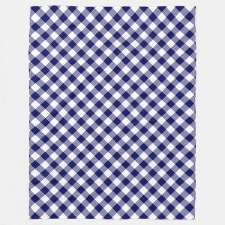 Navy and White Diagonal Buffalo Plaid Fleece Blanket