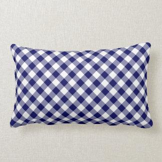 Navy and White Diagonal Checked Plaid Lumbar Pillow