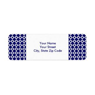Navy and White Diamond Pattern address label