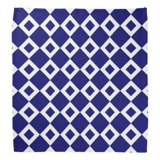Navy and White Diamond Pattern Bandana