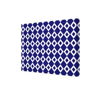 Navy and White Diamond Pattern Canvas Prints