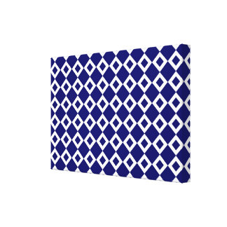 Navy and White Diamond Pattern Canvas Print