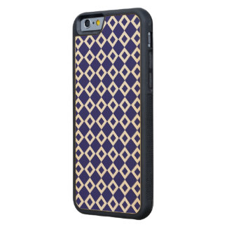 Navy and White Diamond Pattern Carved Maple iPhone 6 Bumper Case