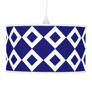 Navy and White Diamond Pattern Ceiling Lamp