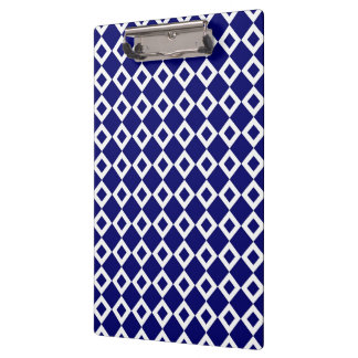Navy and White Diamond Pattern Clipboard