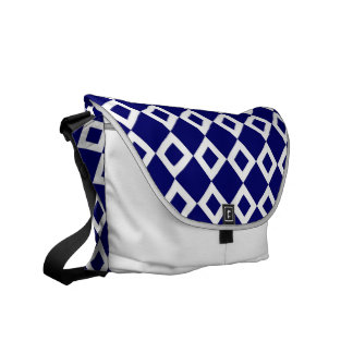 Navy and White Diamond Pattern Courier Bags