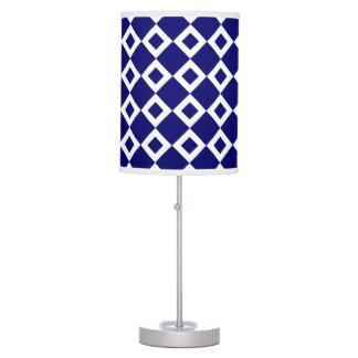 Navy and White Diamond Pattern Desk Lamp